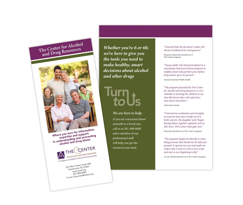 Brochures for The Center for Alcohol and Drug Resources